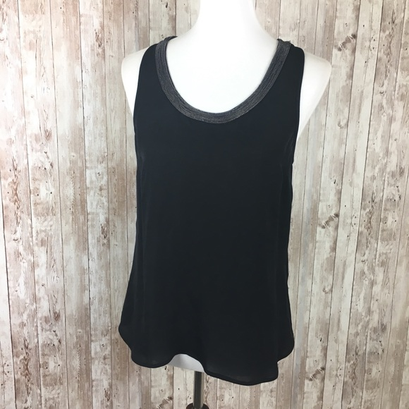 Joie Tops - Joie Black Silk Beaded Tank Top Size Small